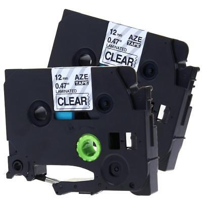 TZ-131 TZe-131 P-touch Label Tape Compatible for Brother 12mm Black on Clear 2pk