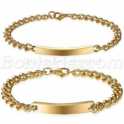 2pcs Couples Luxury Gold Tone Stainless Steel Bracelet Chain with Free Engraving