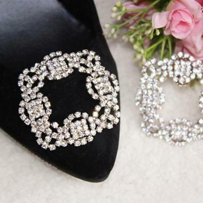 Vintage Style Tone Rhinestone Crystal Square Shoes Clips Metal Decoration