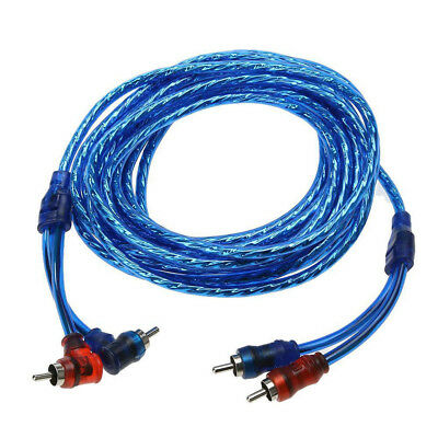 5M 2 RCA to 2 RCA Amplifier Braided Copper Audio Cable Wire
