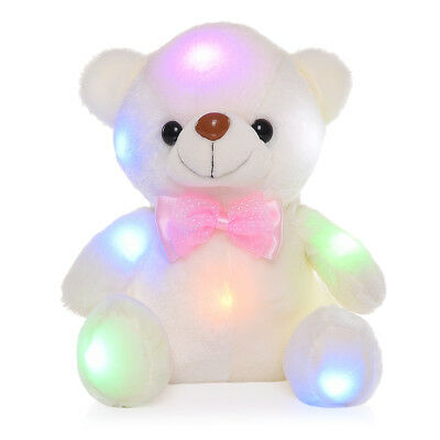 US LED Flash Light Colorful Luminous Teddy Bear Plush Doll Children Toy Gifts
