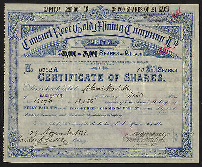 South Africa: Consort Reef Gold Mining Co. Ltd., £1 shares, 1888