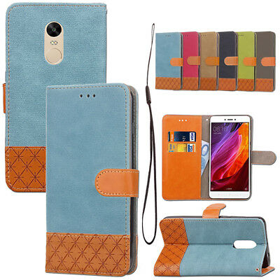 Vintage Canvas Leather Wallet Flip Magnetic Case Cover For Xiaomi Redmi Note 4X