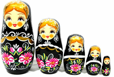 New Set 5 Wooden Dolls Nesting Black Russian Babushka Matryoshka Toys Kids Xmas