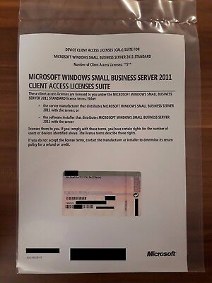 Windows SBS Small Business Server 2011 Standard USER / Clients 5 CAL Lizenz