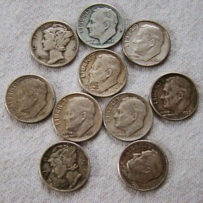 10 x 10 Cents - Dimes - Silber - Lot - Art. 8232