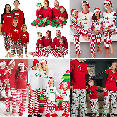 Christmas Pajamas Set Family Matching Adult Kids PJs Pyjamas Sleepwear Nightwear