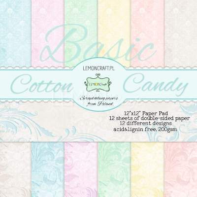 "Set Scrapbooking paper, Motivpapier 30 x 30 cm Basic ""Cotton Candy"""