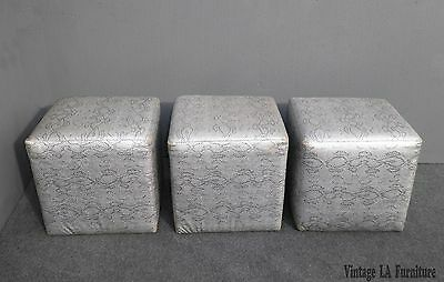 Three VintageContemporary Silver Snake Pattern Leather Square OTTOMANS