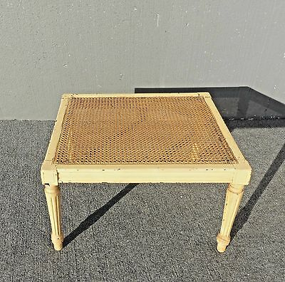 Vintage French Provincial Cane Top Distressed Crackle Finish End Table