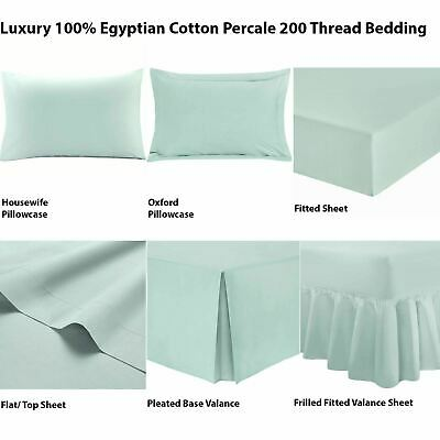 100 Egyptian Cotton Luxury Ed Percale Warm T200 Bed Sheet Valance Duck Egg