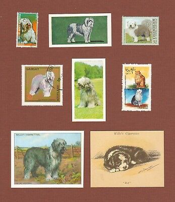 Old English Sheepdog postage stamps and trade cards set of 8