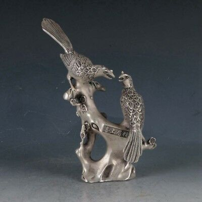 Chinese Silvering Copper Magpie&Plum Statue Made During The Qianlong Period