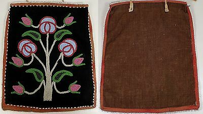 RARE Antique c1900 American Indian Plateau Glass Beaded Flower Black Wool Felt