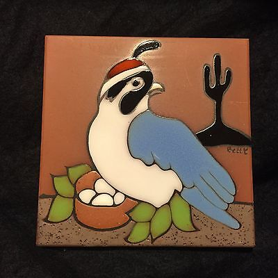 "VINTAGE Hand Painted Bird Tile Wall Hang 6"" x 6"""