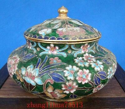 Collectible Chinese Handmade Brass & Cloisonne Enamel Pot Storage tank.12""