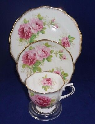 """Royal Albert """"American Beauty"""" teaCup and Saucer and plate Trio Set pink roses"""