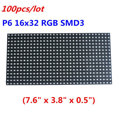 100pcs/lot High-definition LED Display LED Matrix Panel P6 16x32 RGB SMD 3 in 1