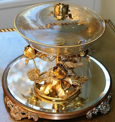 Vint Gold Gilt Toleware Glass Candy Dish w/cover Gold Gilt Roses Made in Italy