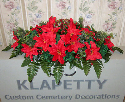 Holly Poinsettias Christmas Flowers Memorial Day Cemetery Grave Headstone Saddle
