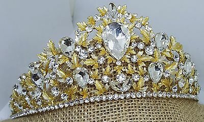 Brilliant Tiara Gold Plated Austrian Crystal Leaves Style T-028-B