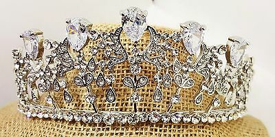 Brilliant Tiara Silver Plated CZ Crystals Style T-027-A