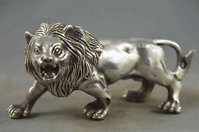 Collectable Handwork Miao Silver Carve Exorcism Might Lion Special Rare Statue