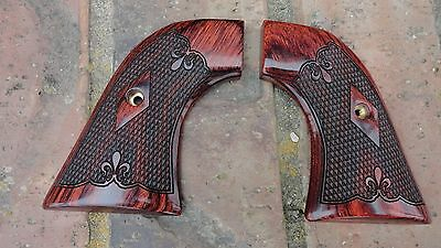 Ruger New Model Vaquero Only --  Super Rosewood Grips Fleur De Lis Checkered