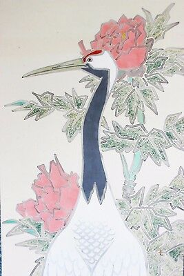 Hanging Scroll Japanese Pink Peony Crane Painting Japan Antique Kakejiku Art