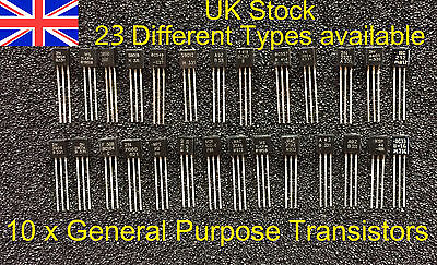 10 x General Purpose NPN & PNP Transistors UK Stock Free UK P+P Anti-static Pack