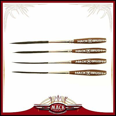 Set (4) Long Bob Pinstriping and Scrolling Brush Series LB Sizes 000-2 Outliner