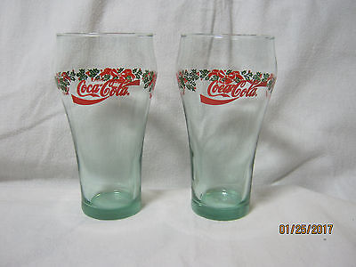 Set Of Two Coca Cola Coke Holiday Christmas Glasses,  Bells, Bows Holly