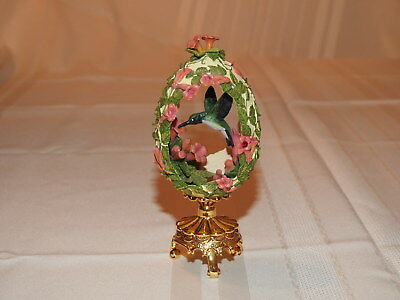Porcelain Hummingbird Egg with Coral Flowers