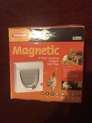 Staywell Pet Safe White Magnetic Cat Flap 4 Way Locking -  Brand New