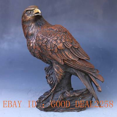Chinese Bronze Handwork Carved Eagle Statue w Ming Dynasty Mark   gd6206