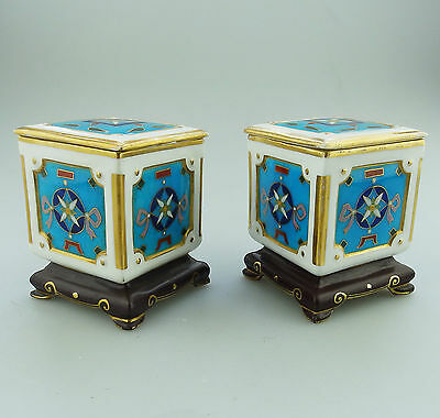 British Art Pottery Christopher Dresser : Pair EXTREMELY RARE Minton Boxes 19thC