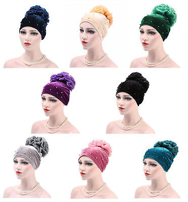 Women Lady Velvet Flower Hat Chemo Cap Beanie Islamic Turban Hijab Head Wrap New