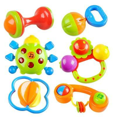 2016 New Quality 6 Kinkds Colorful Plastic Durable Baby Hand68Bell Hand Shake Be