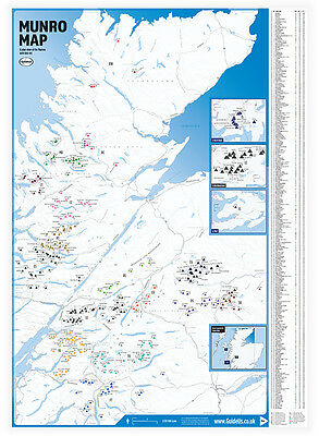 Munro Map with Tick List Guide Scotland Munro Bagging