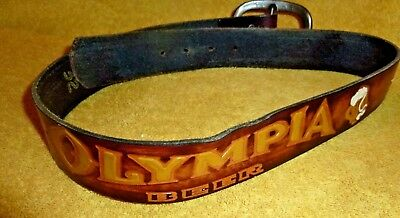 Vintage Olympia Beer belt leather size 32 rare AWESOME!!! GREAT COLORS
