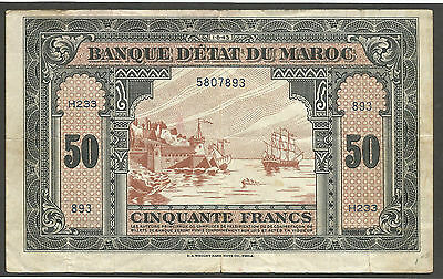Morocco 50 Francs 1943; VF; P-26a, S/B-1503a; Sailing ship,WWII issue; USA print