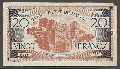 Morocco 20 Francs N.D. (1943); VF; P-39, L-225a; S/B-1512; Buildings; WWII issue