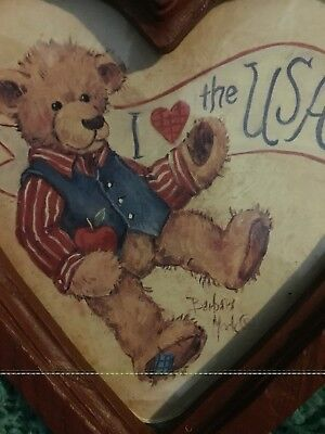 Home Interior Americana I Love the USA Heart Shape Framed Wall Pictures Set Of 2