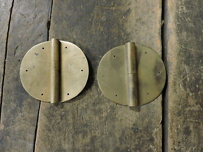 "Old Antique Homemade Brass Oval Hinges, 3 1/2"", Furniture Parts or Repair, (VC)"