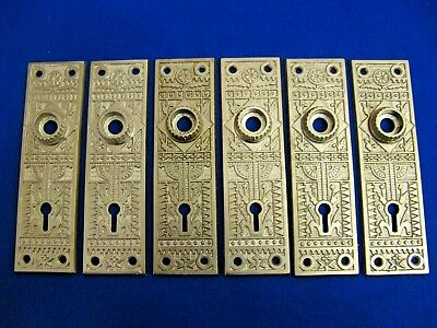 6 Vintage Antique Victorian Eastlake Sargent & Co. Cast Iron Steel Backplates