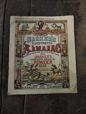 Antique 1904 Barkers Animal Powder Almanac, Farm Feed/Seed Advertising, (VE)