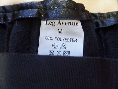Leg Avenue Metal Boned Satin Waist Black Corset Medium 100% Polyester Preowned