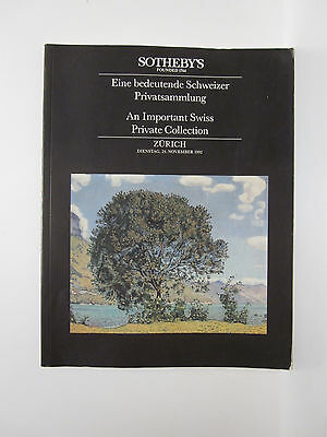 Sotheby's Zurich 1992 An Important Swiss Private Collection 407 lots Catalog