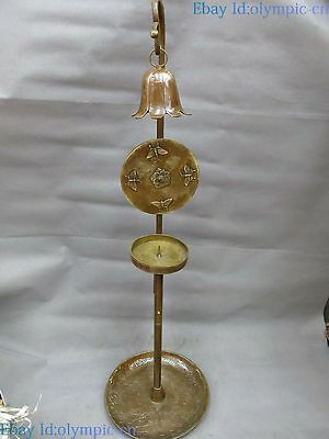 "35"" China brass sculpture carved fine copper bell butterfly candlestick Statue"