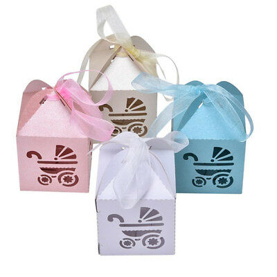 50pcs Party Gift Baby Shower Candy Boxs Ribbon Carriage Shape Favor Wedding Box